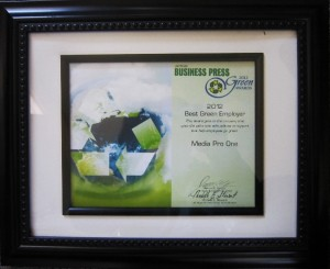 Media One Pro was chosen as Green Employer of 2012 by the Review Journal